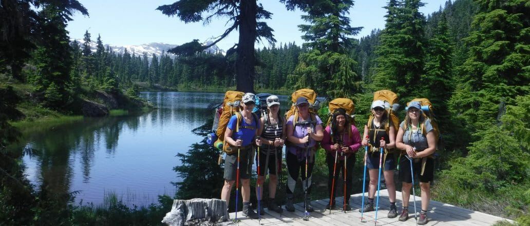 Group of backpackers in front of a lake