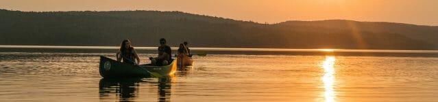 Canoeing Ontario youth summer sunset