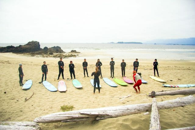 surfers being instructed on the beach