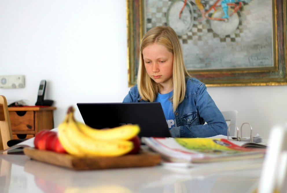 child uses laptop at home
