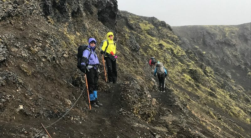 Hikers on a mountain in Iceland