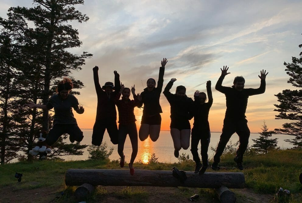 Seven people jumping off a log at sunset