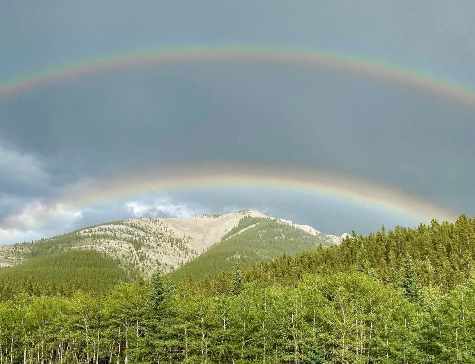 Double rainbow over mountain and trees