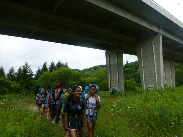 Line of backpackers walking on a path through tall grass. Overpass overhead.