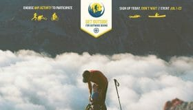 Image of a person bent over backpack with a hiking pole in front of a cloud covered valley. Text reads Choose any activity to participate. Get Outside for Outward Bound Sign up today, don't wait event July 1-22